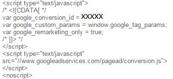 codigo remarketing adwords