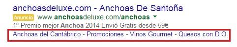 extension de vínculos a sitios google adwords