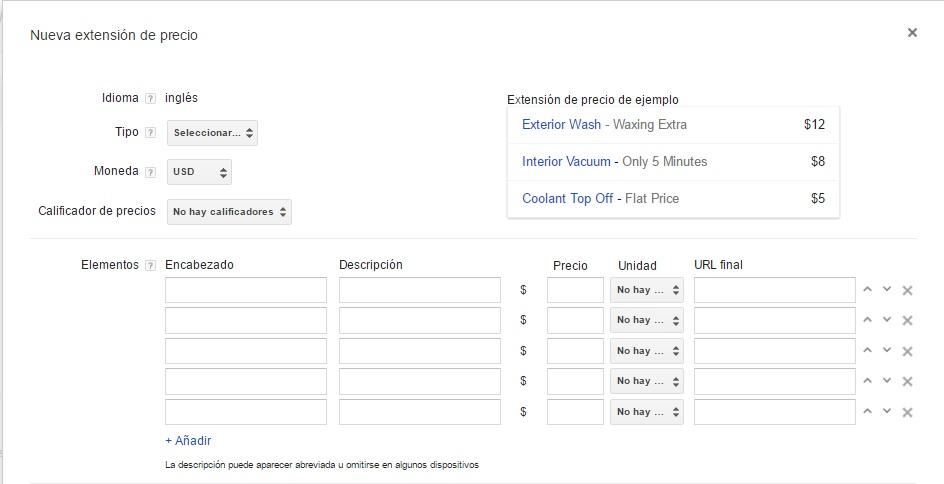 Extensiones de precios en google adwords configuracion