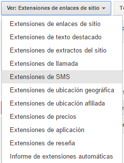 extensiones sms adwords paso 2