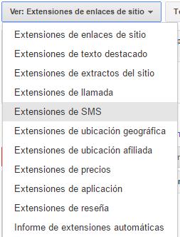 extensiones sms adwords paso 2