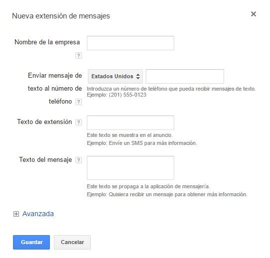 extensiones sms adwords paso 4