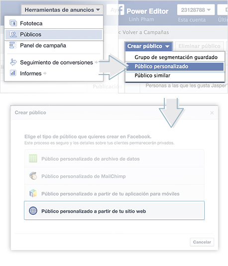 lista de remarketing facebook