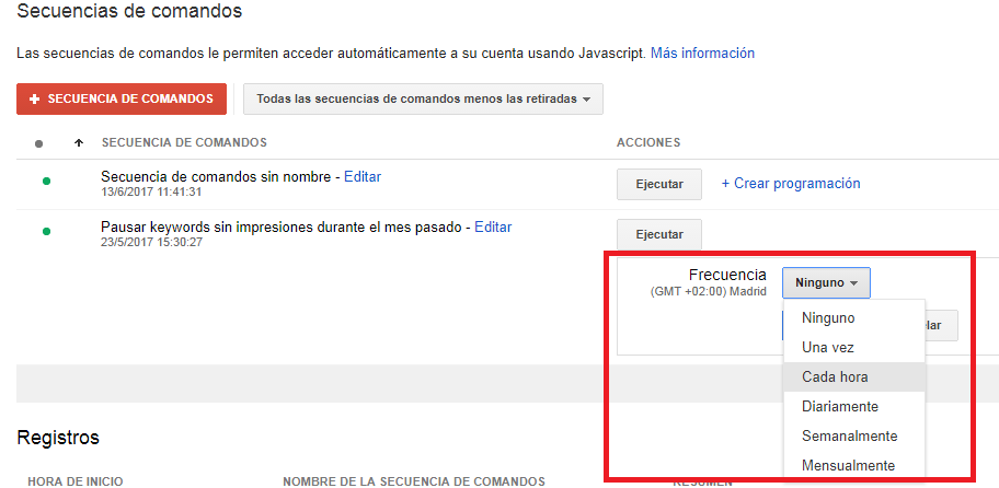 programacion scripts google adwords