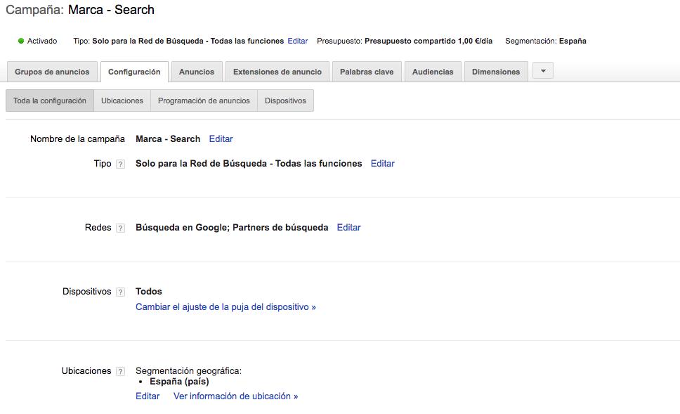 configuracion campaña google adwords