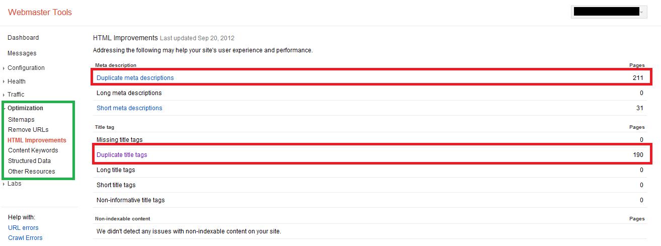 html-improvements webmaster tools