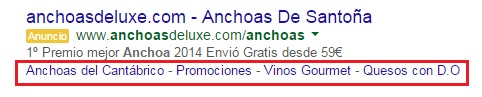 extension de vínculos a sitios google adwords