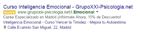 extension ubicacion adwords