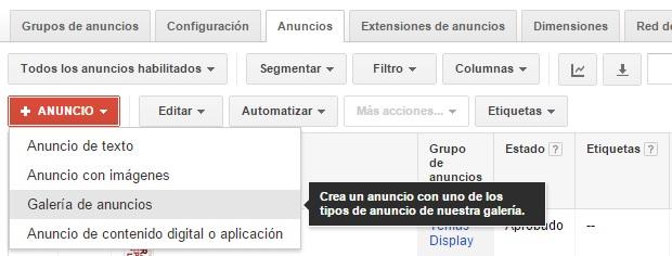 Crear anuncio gmail