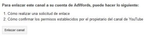 enlazar cuenta youtube y adwords