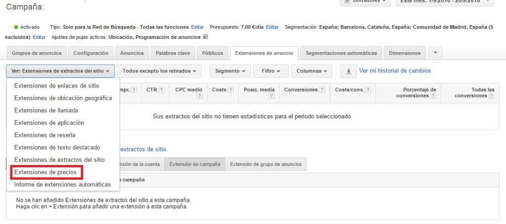 Extensiones de precios en Google Adwords