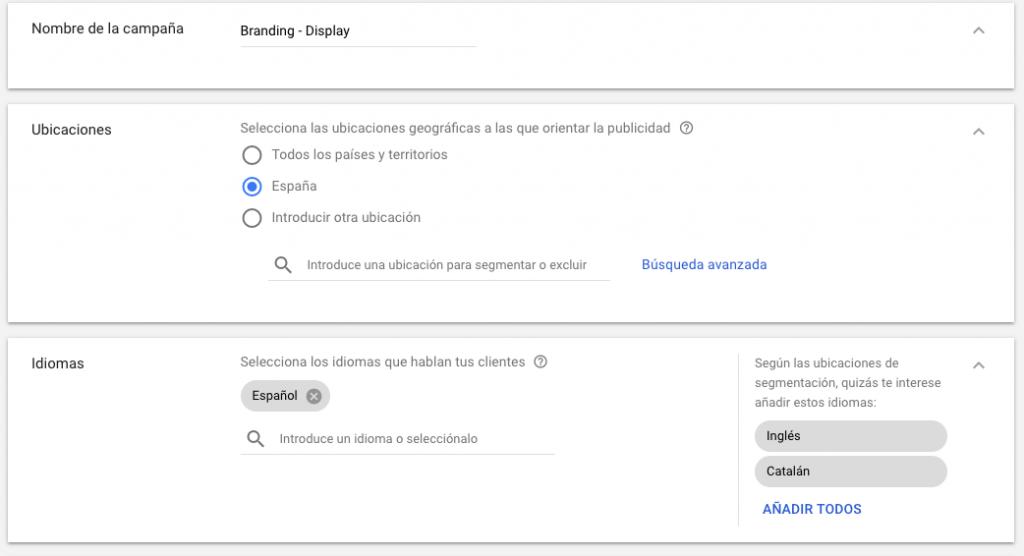 configuracion de campaña de display en google adwords