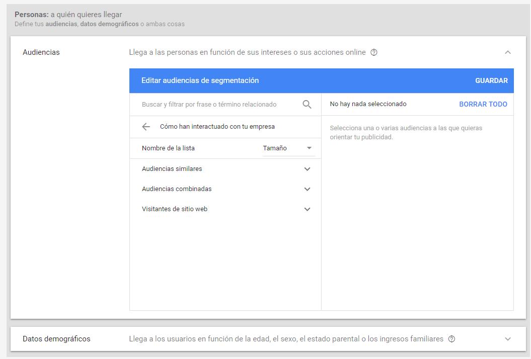 Definir audiencias en Google Adwords