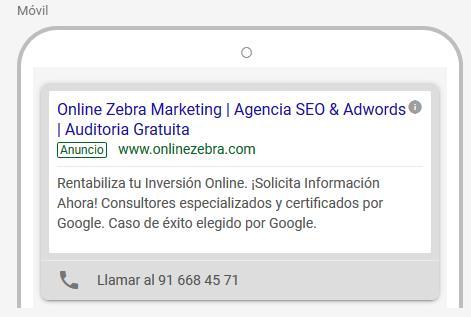 Vista preliminar anuncios Google Ads
