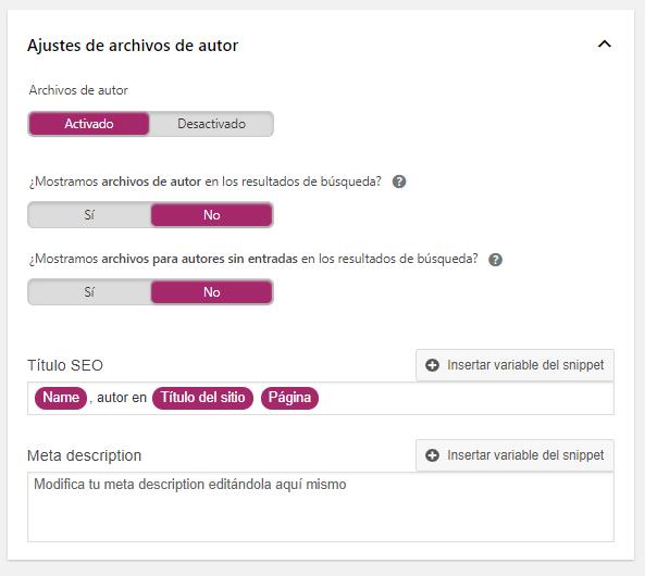 ajustes archivos autor yoast seo