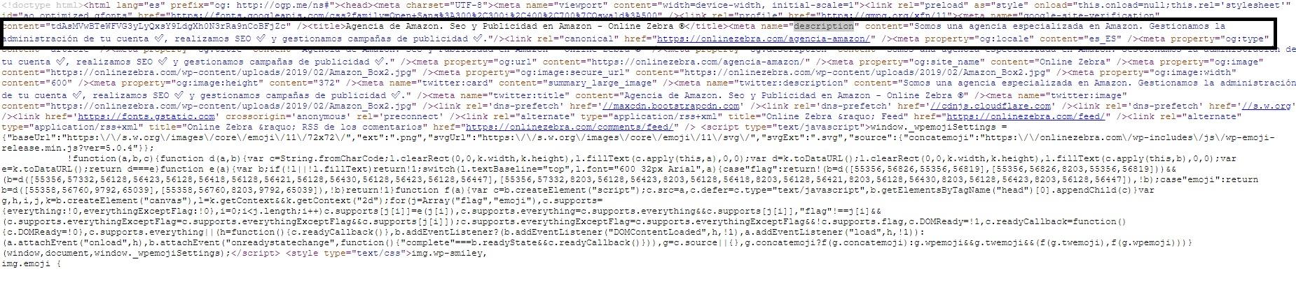 Código fuente Meta Description