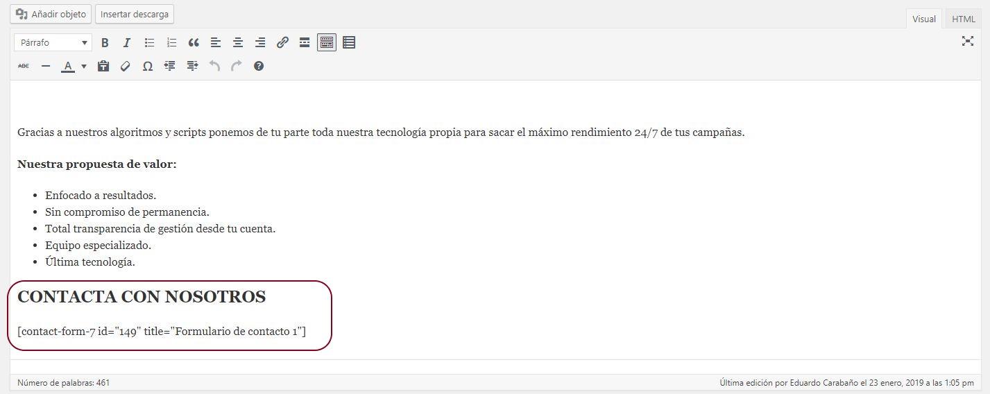 insertar formulario contacto en pagina
