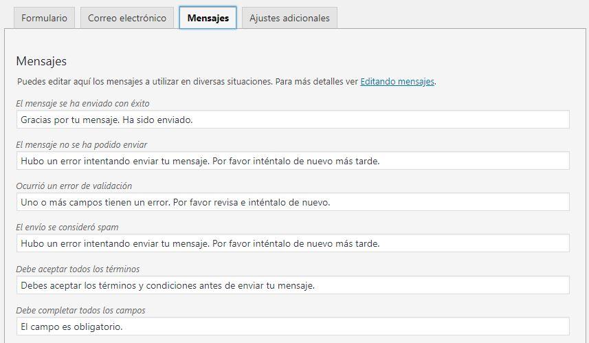 mensajes envio formulario wordpress