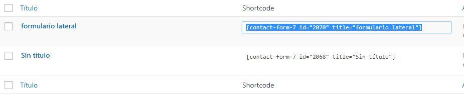 shortcode formulario contacto
