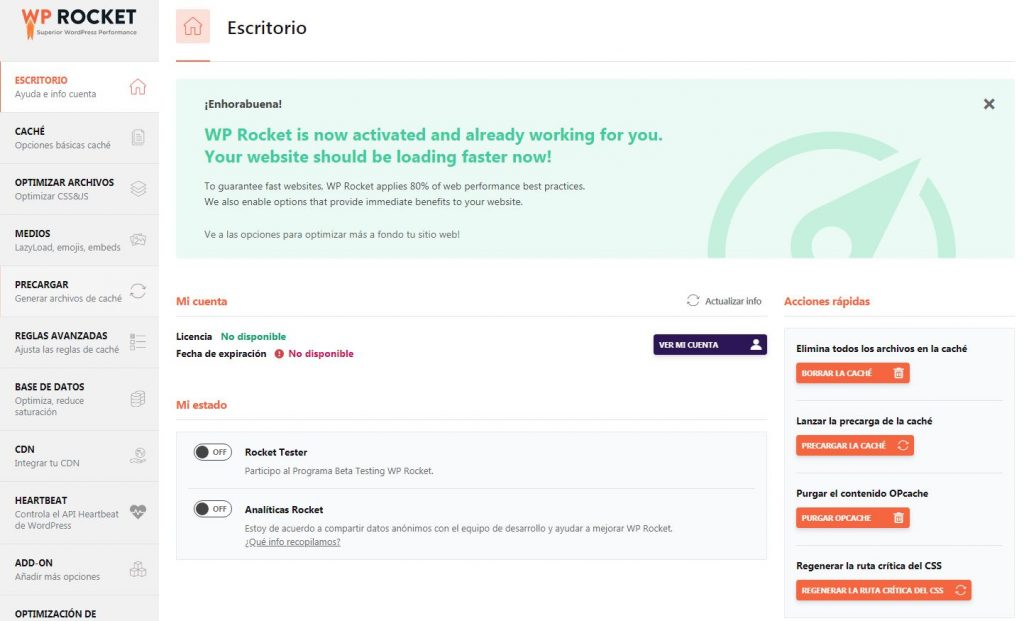 Escritorio WP Rocket