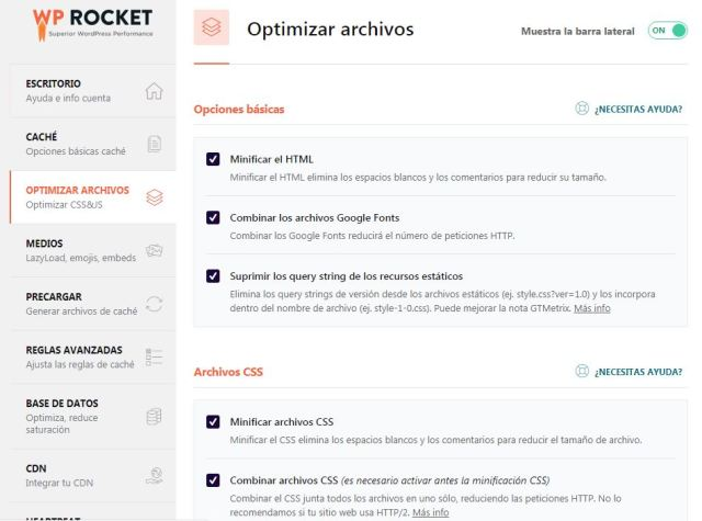 Optimizar archivos WP Rocket