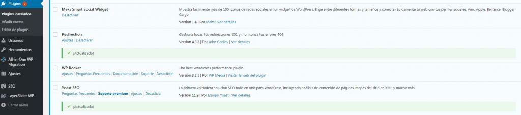 Wp Rocket instalado en WordPress