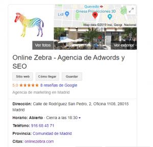 tipo de resultado de mapa en las SERP de google