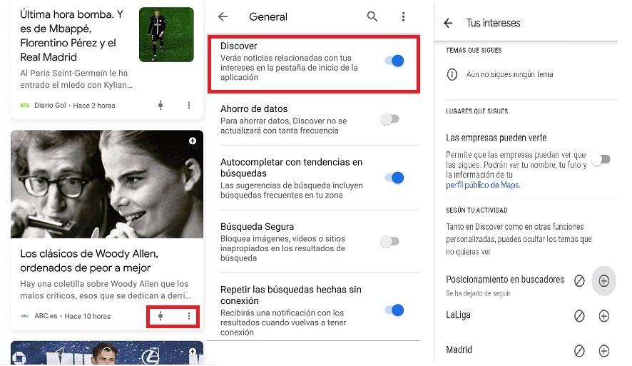 Apariencia Google Discover
