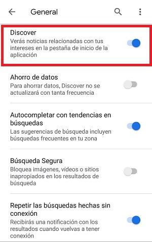 Desactivar y activar Google Disover