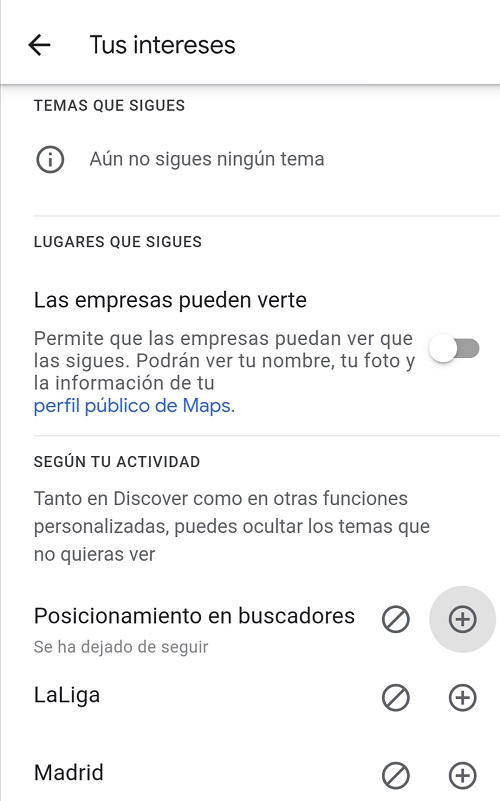 Personalizar intereses Google Discover
