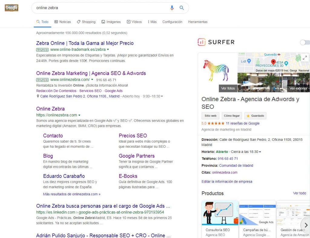 Google My Business apariencia en Google