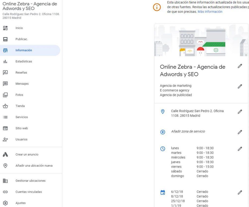 Información Google My Business