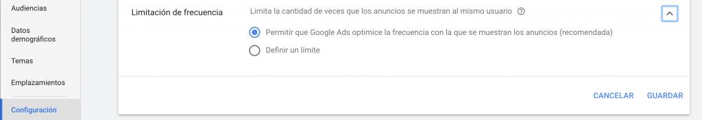 frecuencia de anuncios en google ads