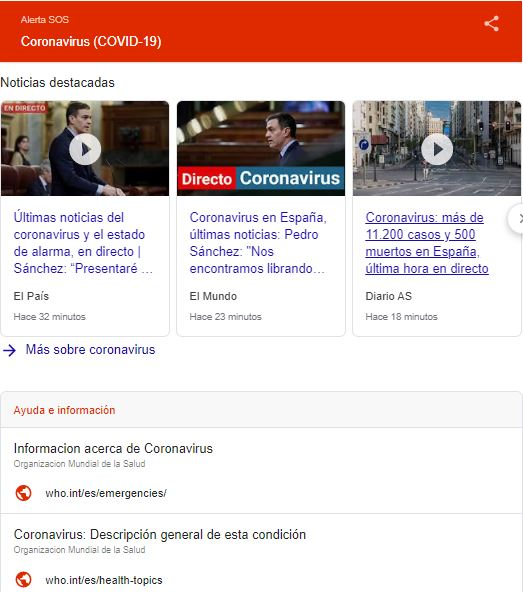 Google y el Coronavirus