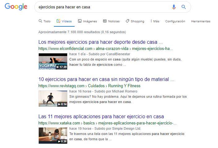 Videos en Google de ejercicio en casa