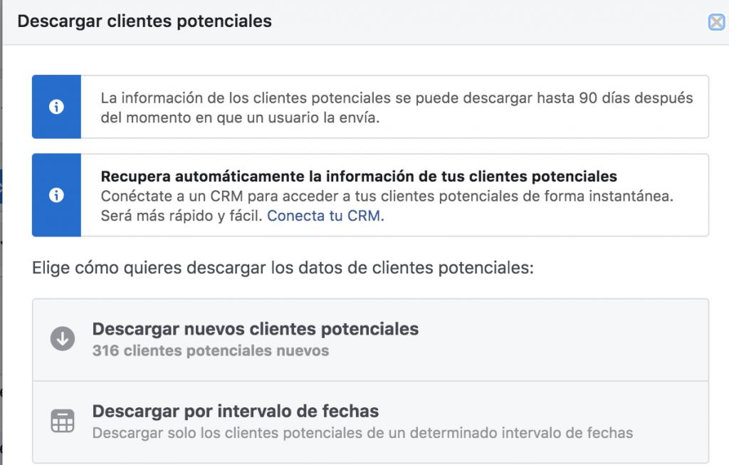 descarga leads facebook ads