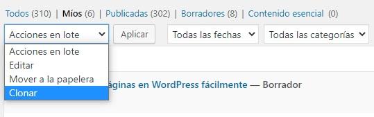 clonar pagina wordpress en lote