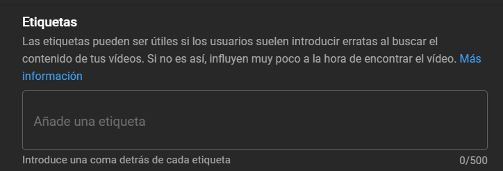 etiquetas youtube